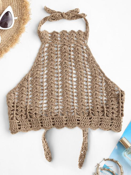 online High Neck Crocheted Bikini Top - LIGHT COFFEE ONE SIZE