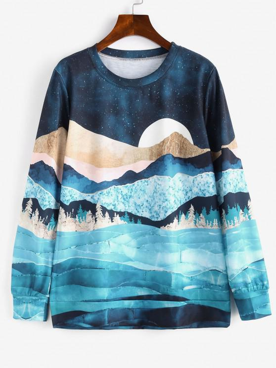 latest Galaxy Moon Forest Print Loose Sweatshirt - MULTI M