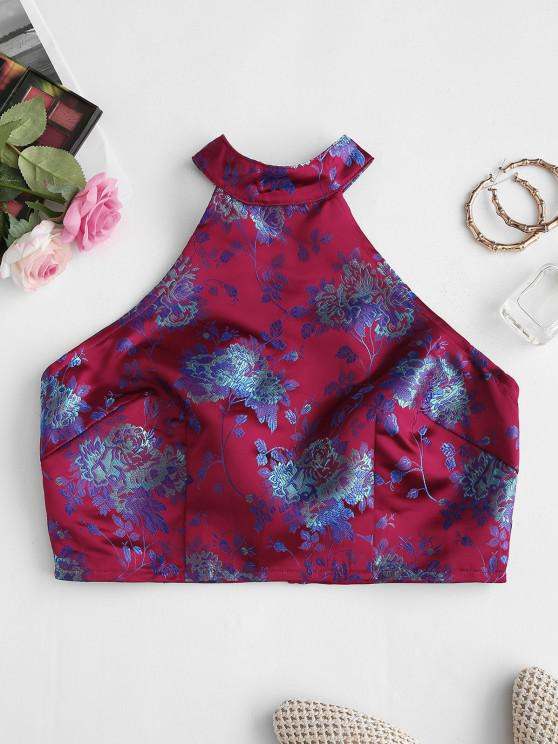 hot Back Zipper Floral Jacquard Oriental Crop Top - RED M