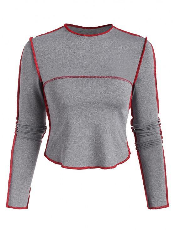 shops Heather Contrast Topstitching T Shirt - GRAY L