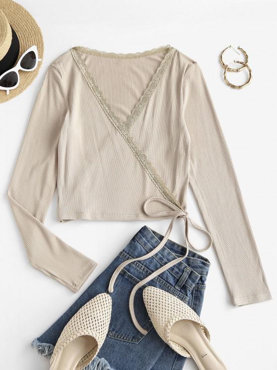 lady ZAFUL Plunge Rib-knit Surplice T Shirt - LIGHT KHAKI L