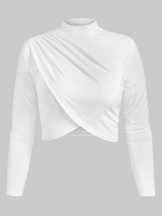 shop High Neck Crop Tulip T Shirt - WHITE S