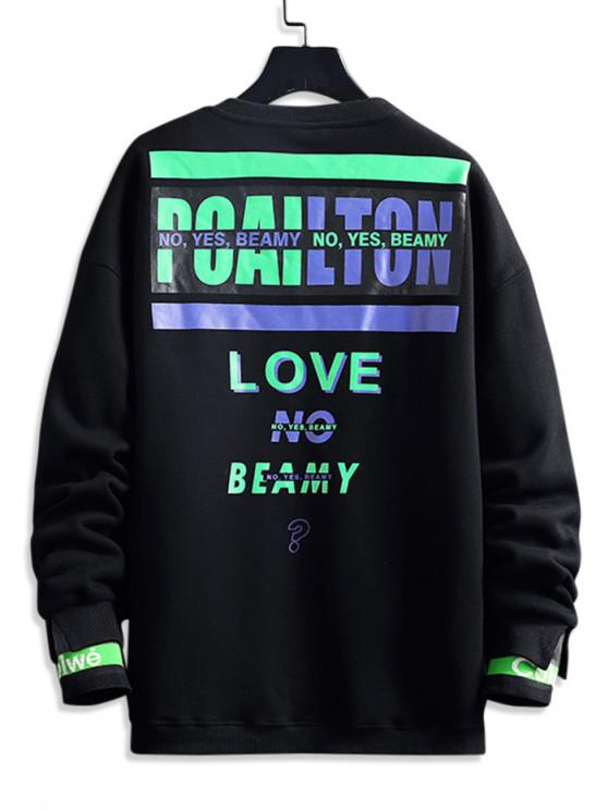 Love No Beamy Letter Contrast Fleece Lined Sweatshirt - أسود 2XL