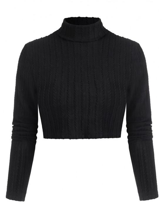 outfit Textured Turtleneck Cropped Tee - BLACK L
