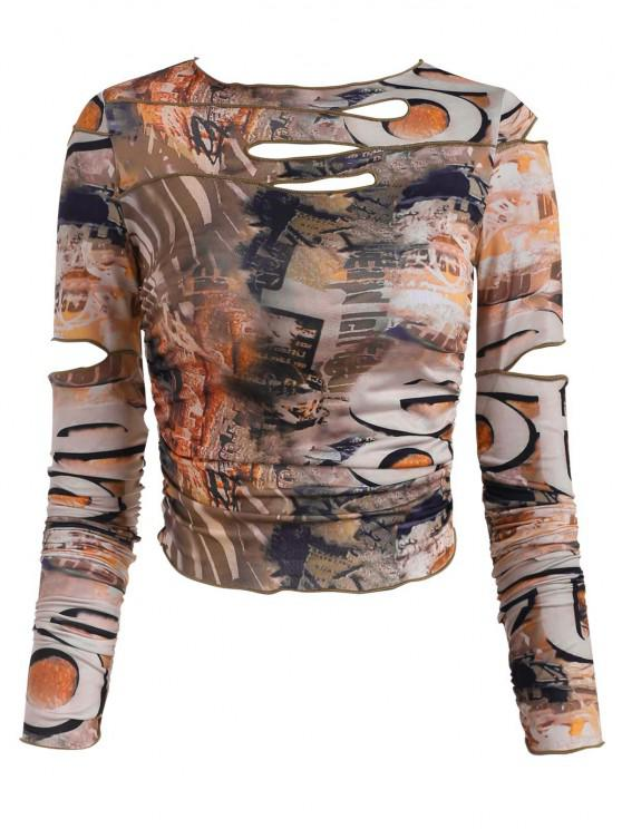 affordable Ripped Ruched Cutout Printed Long Sleeve Tee - MULTI L