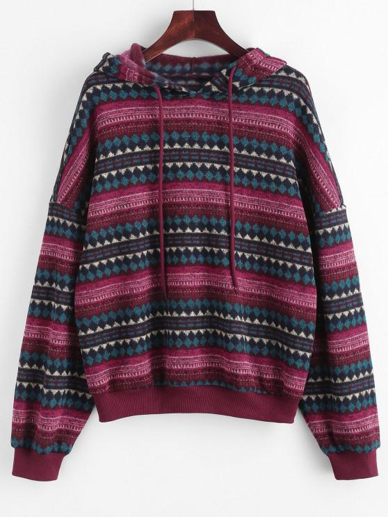 ZAFUL Drop Shoulder Ethnic Print Hoodie - أحمر عميق L