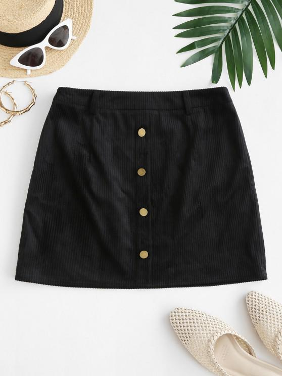 women's ZAFUL Mock Button Mini Sheath Skirt - BLACK S