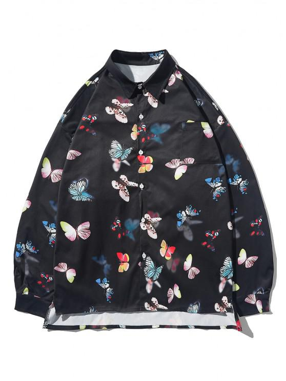 shop Button Up Butterfly Print High Low Pocket Shirt - BLACK L