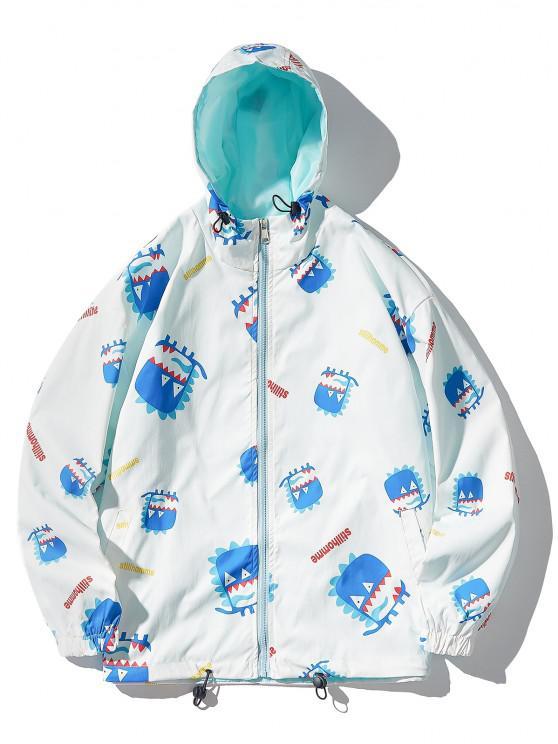 Cartoon Animal Letters Print Hooded Toggle Drawstring Jacket - أبيض XL
