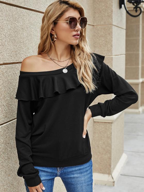 shop Solid Ruffles Skew Neck Sweatshirt - BLACK L