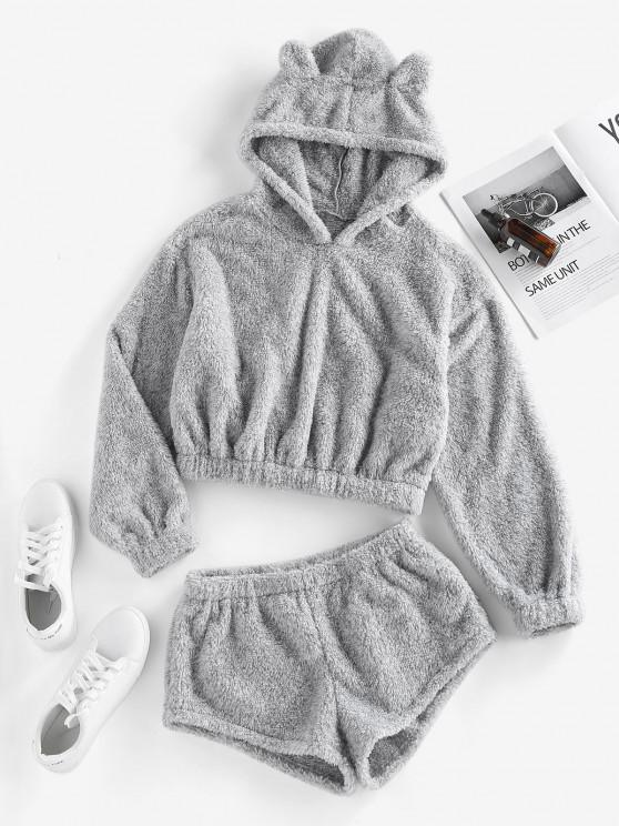 lady ZAFUL Fluffy Hoodie and Shorts Co Ord Set - GRAY S