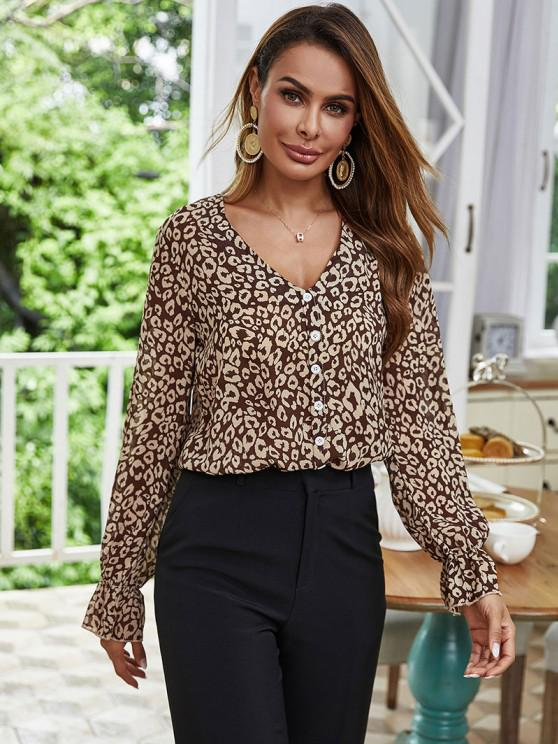 affordable Mock Button Leopard Poet Sleeve Blouse - COFFEE S