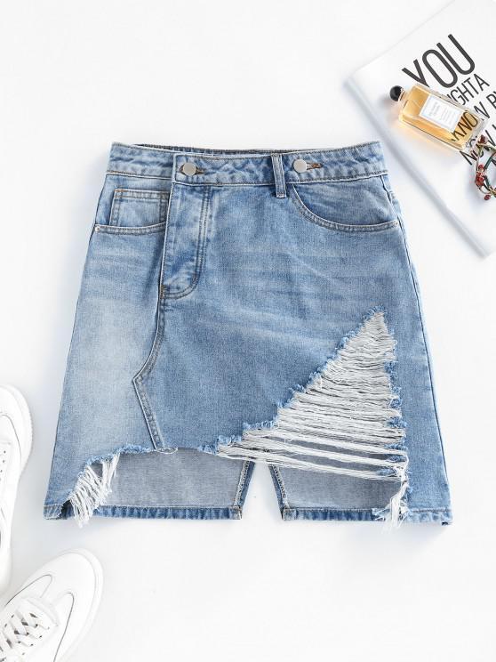 affordable Ripped Asymmetric Denim Skirt - LIGHT BLUE M