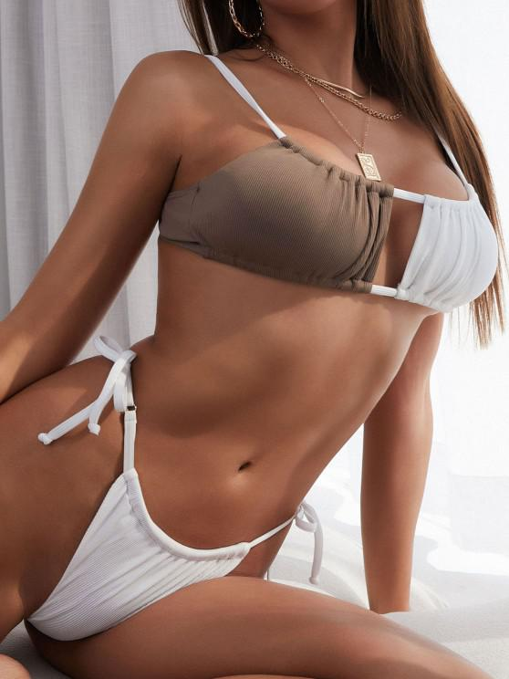 unique ZAFUL Ribbed Two Tone Tie Tanga Bikini Swimwear - DEEP COFFEE S