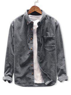 無地カラーポケットコーデュロイシャツ - 暗灰色 M