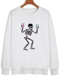 Skeleton Drinking Print Drop Shoulder Sweatshirt - White S