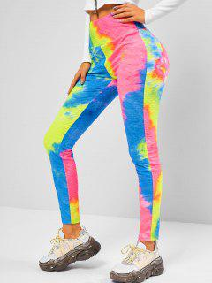 ZAFUL Tie Dye Gym Fitted Leggings - Multi-a S