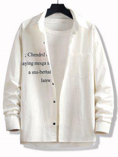 Camicia Asimmetrica Stampata Lettere Con Tasca E Bottoni - Bianca Xl