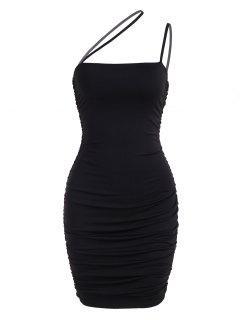 Ruched Asymmetric Strap Bodycon Club Dress - Black Xs