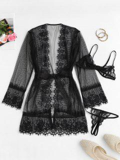 Lace Mesh See Thru Sexy Lingerie Robe Set - Black