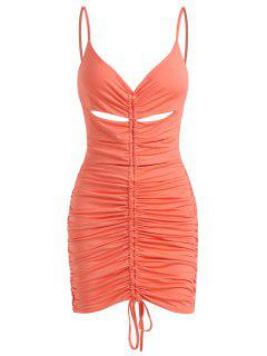 Ruched Slinky Cinched Front Keyhole Bodycon Dress - Dark Orange Xs