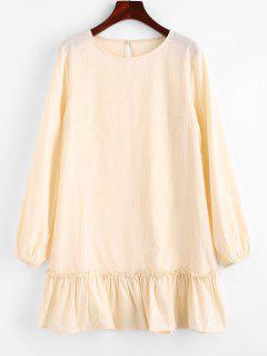 Keyhole Back Flounce Hem Mini Dress - Light Yellow M