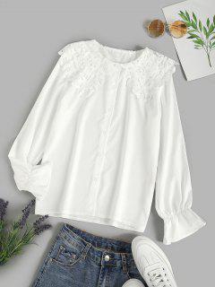 Puritan Collar Guipure Insert Poet Sleeve Shirt - White Xl
