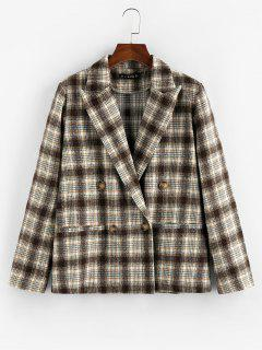 ZAFUL Plaid Double Breasted Lapel Blazer - Deep Coffee M