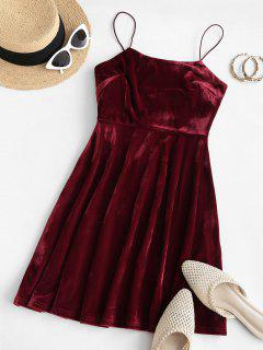 ZAFUL Thin Straps Velvet Mini A Line Dress - Red Wine S