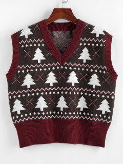 ZAFUL Christmas Tree V Neck Ribbed Trim Sweater Vest - Deep Red S