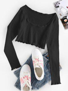 ZAFUL Ribbed Lettuce Trim Crop T-shirt - Black M