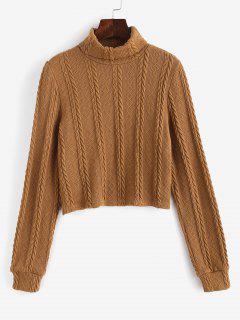 ZAFUL  Turtleneck Cable Knit Cropped Sweater - Light Coffee S