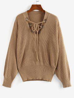 ZAFUL Lace Up Drop Shoulder V Neck Sweater - Coffee L