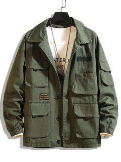 Letter Patched Multi Pockets Jacket - Army Green 2xl