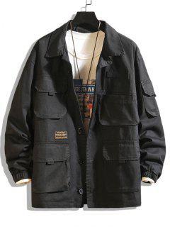 Letter Patched Multi Pockets Jacket - Black 2xl