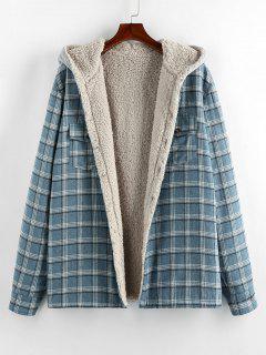 ZAFUL Plaid Pattern Teddy Lined Hooded Shirt Jacket - Light Blue 2xl