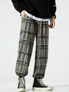 Pantalones Rayados Estampado Bota Pie Estrecho - Verde 3xl