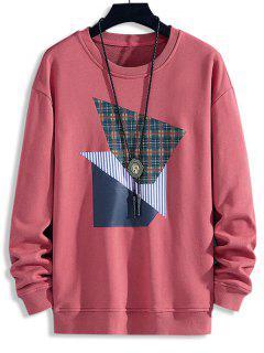 Plaid Striped Pattern Casual Sweatshirt - Bean Red Xs