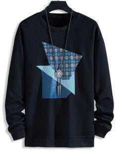 Plaid Striped Pattern Casual Sweatshirt - Black M