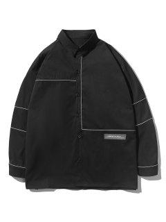 Button Up Stripe Shirt - Black Xl