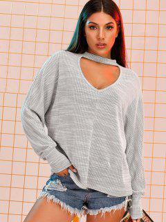 Dolman Sleeve Oversize Choker Top - Light Gray L