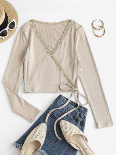 ZAFUL Plunge Rib-knit Surplice T Shirt - Light Khaki M