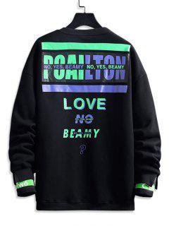 Love No Beamy Letter Contrast Fleece Lined Sweatshirt - Black 2xl