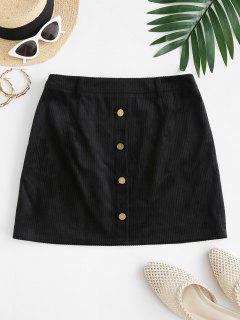ZAFUL Mock Button Mini Sheath Skirt - Black M