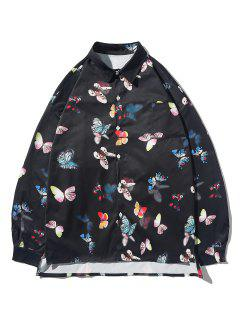 Button Up Butterfly Print High Low Pocket Shirt - Black L