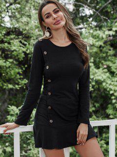 Mock Button Long Sleeve Ruffled Hem Dress - Black M