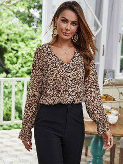 Mock Button Leopard Poet Sleeve Blouse - Coffee S