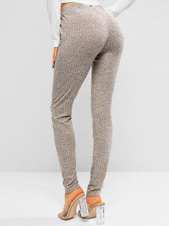 ZAFUL Heathered Drawstring Knitted Leggings - Light Coffee L