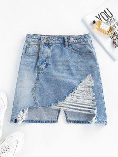 Ripped Asymmetric Denim Skirt - Light Blue L