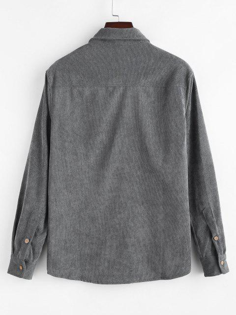 new Solid Color Pocket Corduroy Shirt - DARK GRAY 3XL Mobile